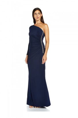 Adrianna Papell One Shoulder Jersey Dress In Midnight