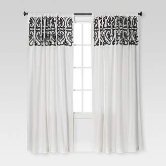 """Threshold Naturals Scroll Embroidery Curtain Panel Sour Cream/Radiant Gray (54""""X84"""") - ThresholdTM"""