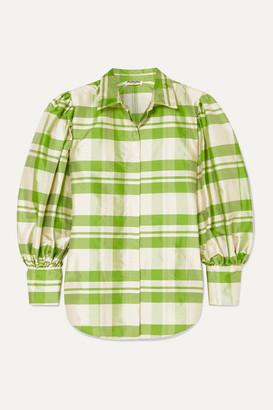 AVAVAV Checked Silk-charmeuse Blouse - Green
