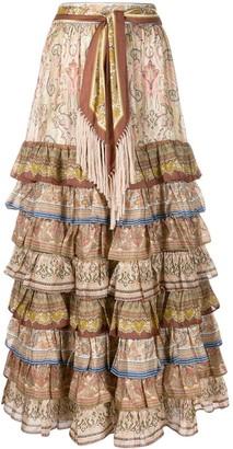 Zimmermann tiered paisley print skirt