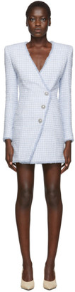 Balmain Blue Three-Button Wrap Dress