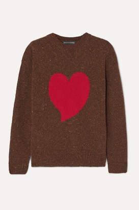 ALEXACHUNG Heart Intarsia Wool-blend Sweater - Brown