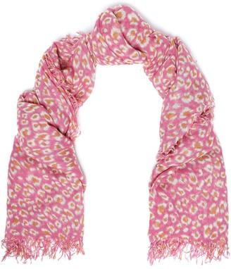 Chan Luu Fringe-trimmed Leopard-print Cashmere And Silk-blend Scarf