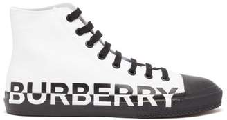 Burberry Larkhall Logo Print High Top Trainers - Mens - White Black
