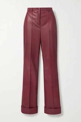 Akris Leather Straight-leg Pants - Burgundy