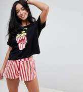 Asos Popcorn PomPom Tee & Short Pajama Set