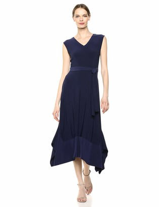 Chaus Women's Cap SLV Tie Waist Sharkbite Dress