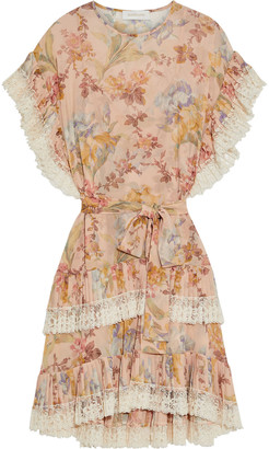 Zimmermann Espionage Pleat Frill Lace-trimmed Floral-print Crepe Dress