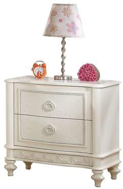House of Hampton Dublin Floral Carved Trim 2 Drawer Nightstand House of Hampton