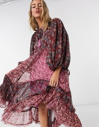 Free People Estelle printed midi smock dress in multi