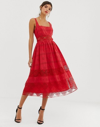 Asos Design DESIGN square neck midi prom dress in broderie with lace insert-Red