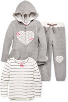 Nannette Little Girls' 3-Pc. Lace Heart Hoodie, Long-Sleeve T-Shirt and Pants Set