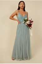 Thumbnail for your product : Little Mistress Bridesmaid Ayla Waterlily Embellished Ruffle Mesh Maxi Dress