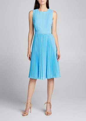 Badgley Mischka Reo Sleeveless Pleated Dress