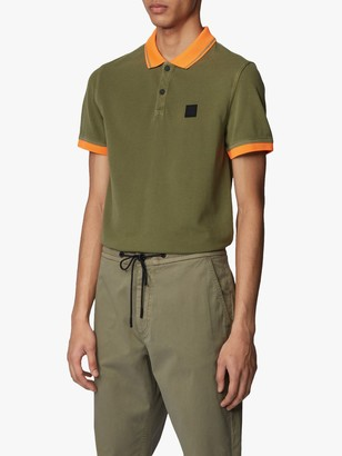 HUGO BOSS Prim Short Sleeve Contrast Polo Shirt, Open Green