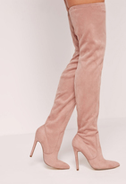 Missguided Pink Faux Suede Pointed Toe Over The Knee Heeled Boots