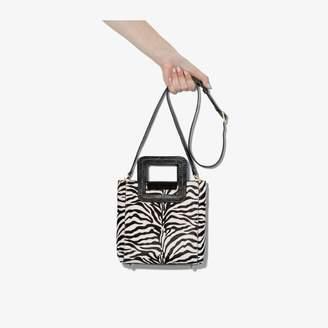 STAUD Womens Black Shirley Mini Zebra Print Leather Tote Bag