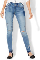 New York & Co. Soho Jeans - Embroidered & Destroyed High-Waist Superstretch Legging - Indigo Blue Wash