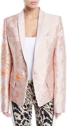Haider Ackermann Ora Shawl-Collar One-Button Floral-Jacquard Jacket