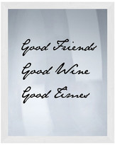 PTM Images Good Wine Silk Screen Wood Framed Wall Art
