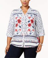 Style&Co. Style & Co Plus Size Mixed-Print Blouse, Created for Macy's