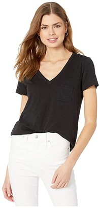 Madewell Whisper Cotton V-Neck Pocket Tee (True Black) Women's Clothing