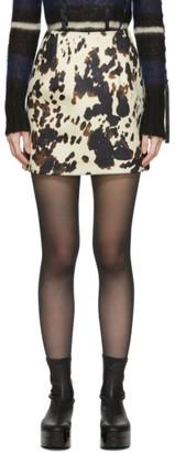 ALEXACHUNG Black and Off-White Velvet Hide Print B-Line Miniskirt