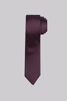 Moss Bros Premium Wine Puppytooth Silk Skinny Tie