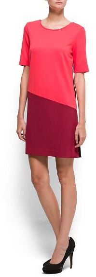 MANGO Contrasted straight-cut dress