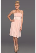 Donna Morgan Satin Chiffon Strapless Dress (Ballet Slippers/Pearl) - Apparel