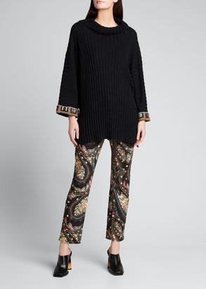 Etro Oversized Mock-Neck Wool-Blend Rib Sweater