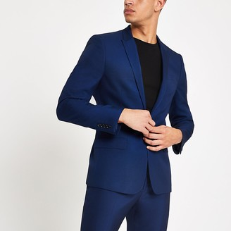 River Island Bright blue skinny fit suit jacket