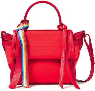 Elena Ghisellini Angel Xs Leather-trimmed Cotton-canvas And Pvc Shoulder Bag