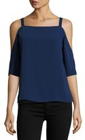 Cooper & Ella Zoe Cold-Shoulder Square-Neck Top, Navy