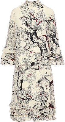 Valentino Ruffle-trimmed Printed Silk Dress