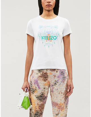 Kenzo Tiger-print cotton-jersey T-shirt