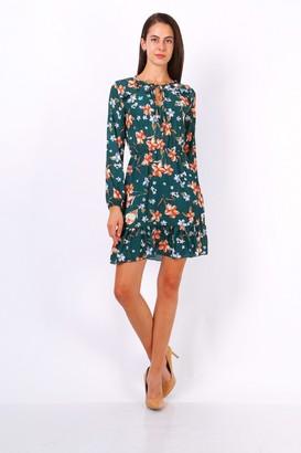 Lilura London Green Floral Print Tie Neck Shift Dress