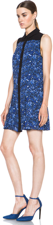 Proenza Schouler Silk Shirt Dress in Blue Micro Print