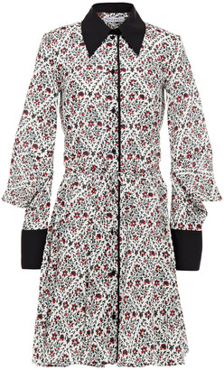 J.W.Anderson Paneled Floral-print Cotton-poplin Mini Shirt Dress