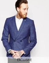Noose & Monkey Double Breasted Blazer With Chain & Fleck In Super Skinny Fit