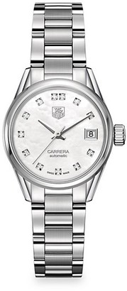 Tag Heuer Carrera 28MM Stainless Steel, Mother-of-Pearl Diamond Automatic Bracelet Watch