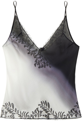 Carine Gilson Lace-trimmed Degrade Silk-voile Camisole