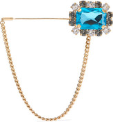Dolce & Gabbana Gold-tone Crystal Brooch - Blue