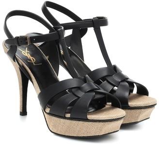 Saint Laurent Tribute 75 leather platform sandals