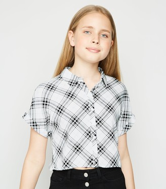 New Look Girls Check Button Up Boxy Shirt