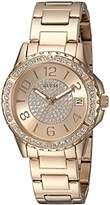 GUESS Women's Stainless Steel Crystal Accented Watch, Color: Rose Gold-Tone (Model: U0779L3)