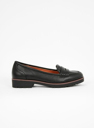 Evans EXTRA WIDE FIT Black Cleat Sole Loafers