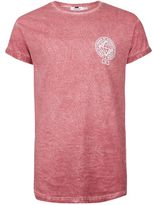 Topman Pink Muscle Fit Roller Sleeve T-Shirt