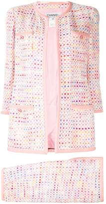 Chanel Pre Owned geometric tweed collarless skirt suit