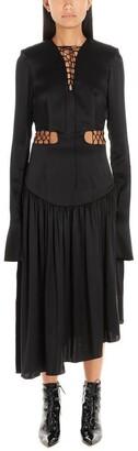 MATÉRIEL Asymmetric Lace-Up Midi Dress